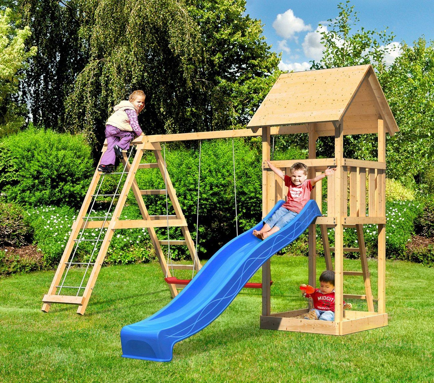 ABUKI Spielturm »Rosie«, BxTxH: 218,5x390,5x291 cm + Schaukel, Kletternetz, Rutsche