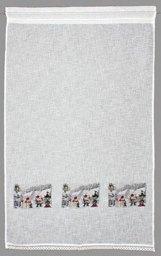 Gardine »Wichtel«, HOSSNER - ART OF HOME DECO, Stangendurchzug (1 Stück), weihnachtlicher Landhaus-Look