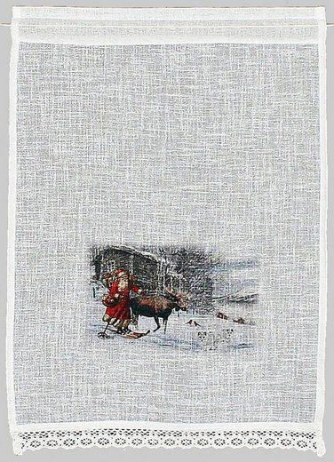 Scheibengardine »Weihnachtsmann«, HOSSNER - ART OF HOME DECO, Stangendurchzug (1 Stück), Landhaus-Look
