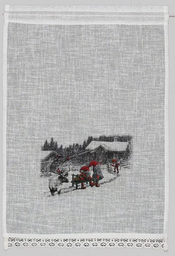 Scheibengardine »Wintermärchen«, HOSSNER - ART OF HOME DECO, Stangendurchzug (1 Stück), Landhaus-Look