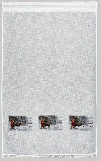 Gardine »Weihnachtsmann«, HOSSNER - ART OF HOME DECO, Stangendurchzug (1 Stück), Landhaus-Look