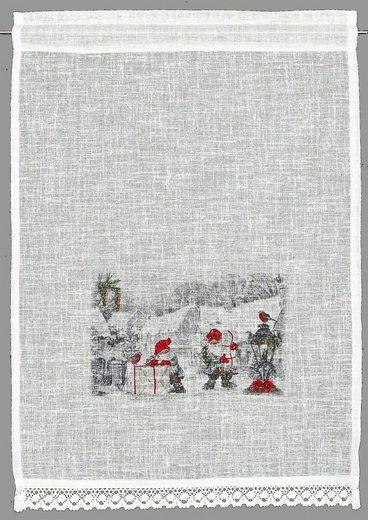 Scheibengardine »Wichtel«, HOSSNER - ART OF HOME DECO, Stangendurchzug (1 Stück), HxB: 90x40, weihnachtlicher Landhaus-Look