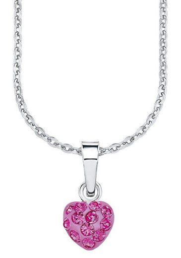 Amor Kette mit Anhänger »Herz, 9293544«, mit Kristallglassteinen