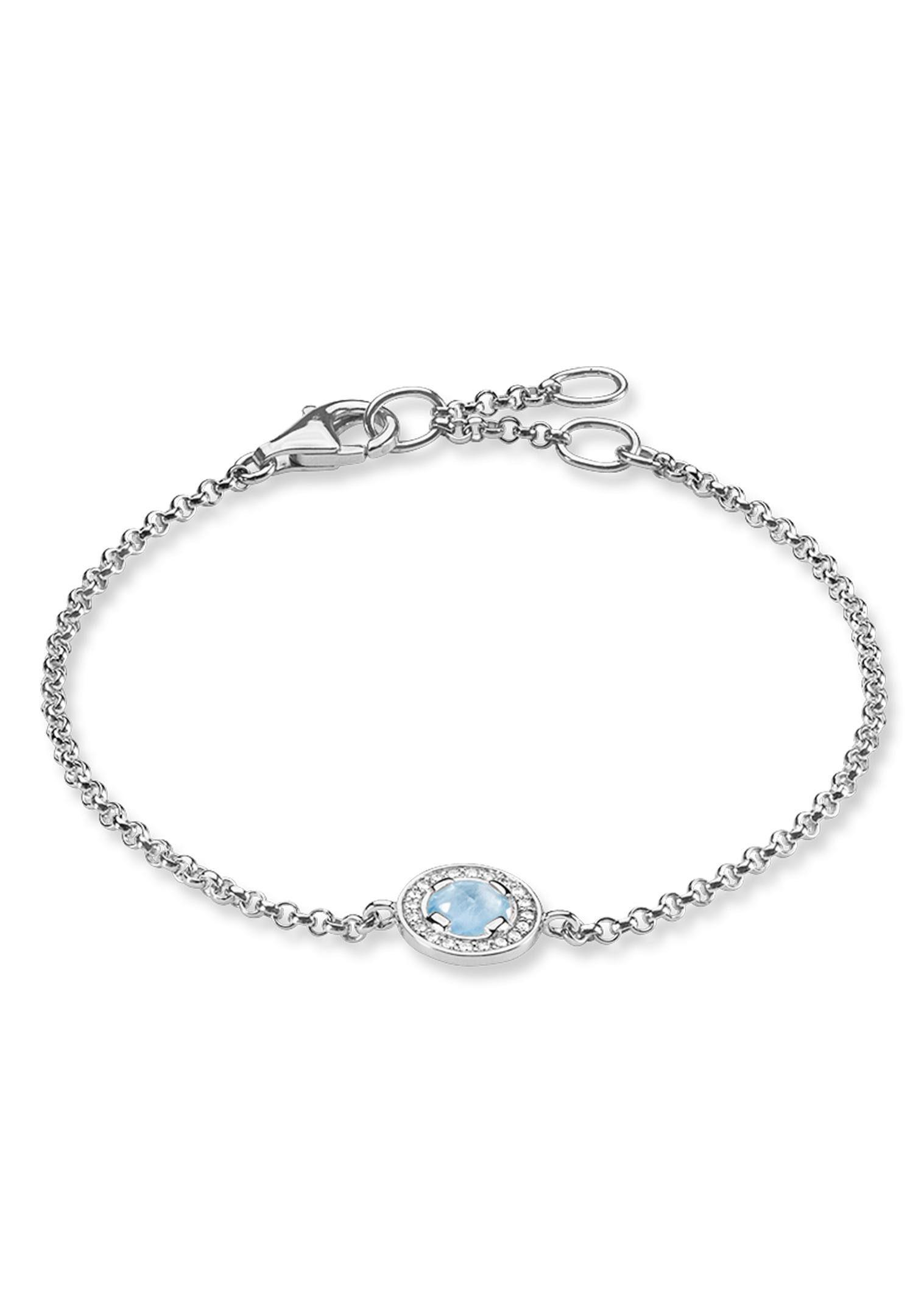 THOMAS SABO Silberarmband »Light of Luna Hellblau, A1334-694-31-L19,5v« mit Zirkonia und Aquamarin