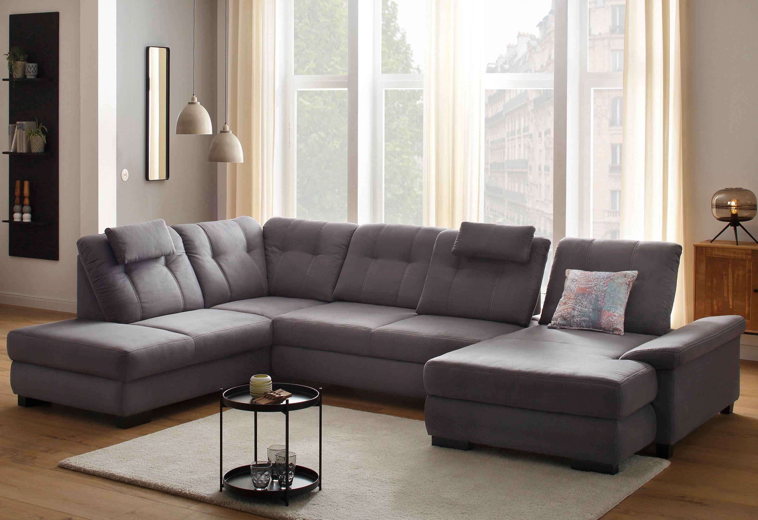 Home affaire Wohnlandschaft »Sven«, mit Sitztiefenverstellung, wahlweise mit Bett und Bettkasten