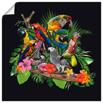 Artland Wandbild »Papageien Graupapagei Kakadu Dschungel«, Vögel (1 Stück), in vielen Größen & Produktarten - Alubild / Outdoorbild für den Außenbereich, Leinwandbild, Poster, Wandaufkleber / Wandtattoo auch für Badezimmer geeignet