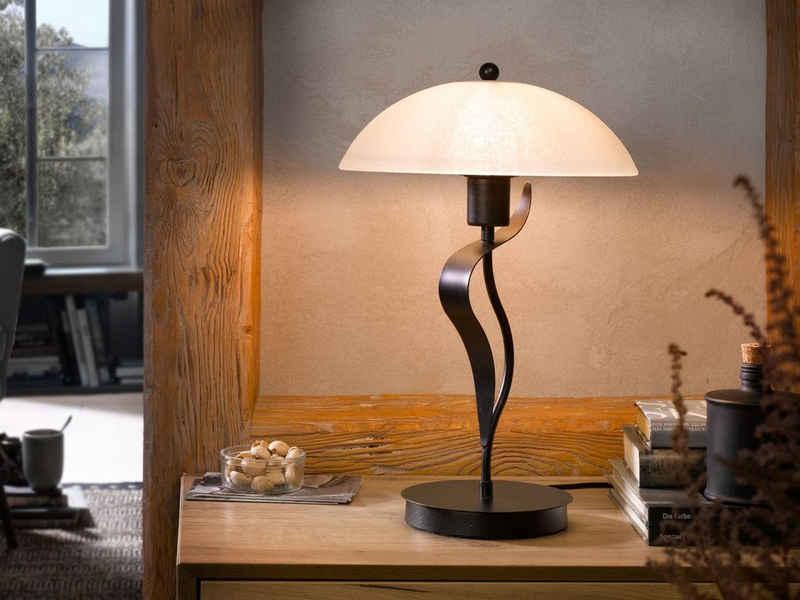 FISCHER & HONSEL LED Tischleuchte, mit Glas Lampen-Schirm Landhaus-Stil antik, Design-Lampe für Flur-Beleuchtung Wohnzimmer & große Nachttischlampe