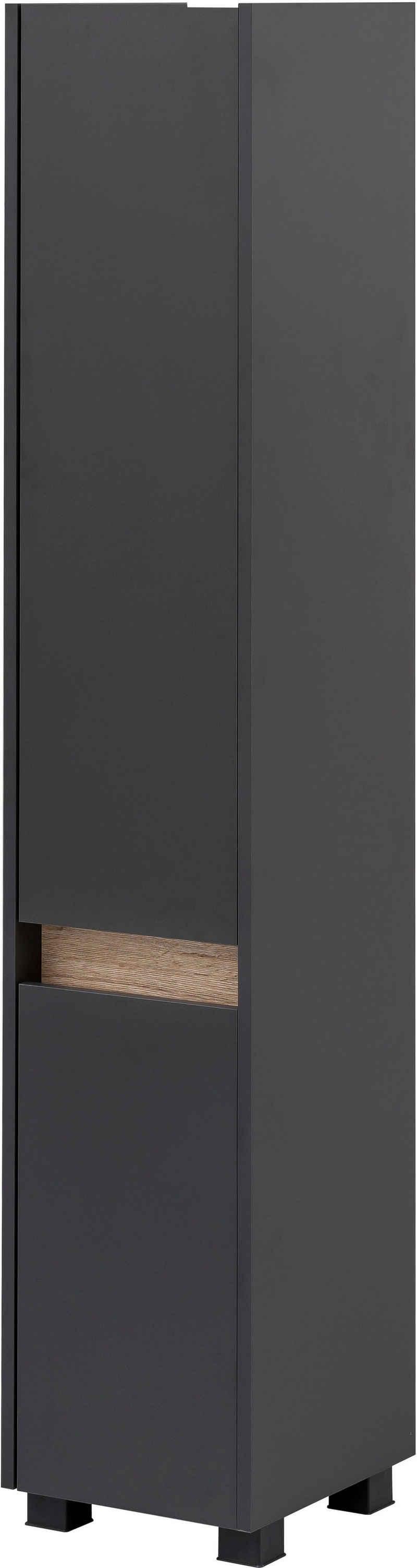 Schildmeyer Hochschrank »Cosmo« Höhe 164,5 cm, Badezimmerschrank mit griffloser Optik, Blende im modernen Wildeiche-Look, wechselbarer Türanschlag