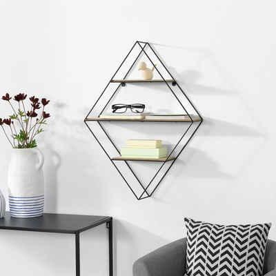 en.casa Wandregal, Hängeregal, »Borus« Deko Regal mit 3 Ablagefächern Diamantförmig