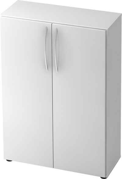 bümö Aktenschrank »OM-4550« Büroschrank, Flügeltürenschrank für Ordner, Akten & Bücher mit 3 Ordnerhöhen - Dekor: Weiß/Weiß