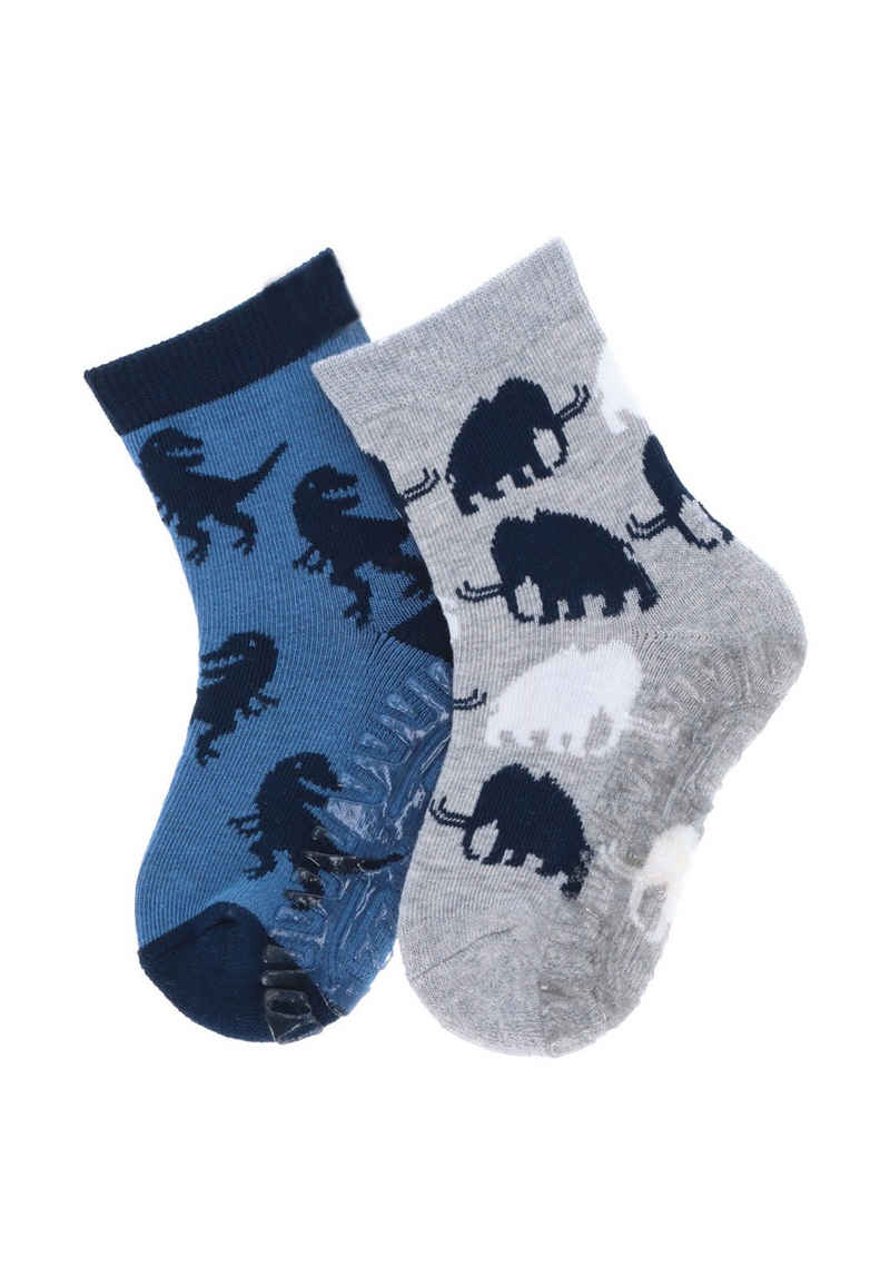 Sterntaler® ABS-Socken »Fliesen Flitzer AIR Doppelpack Mammut und Dino« (2-Paar) Vollplüsch im Sohlenbereich