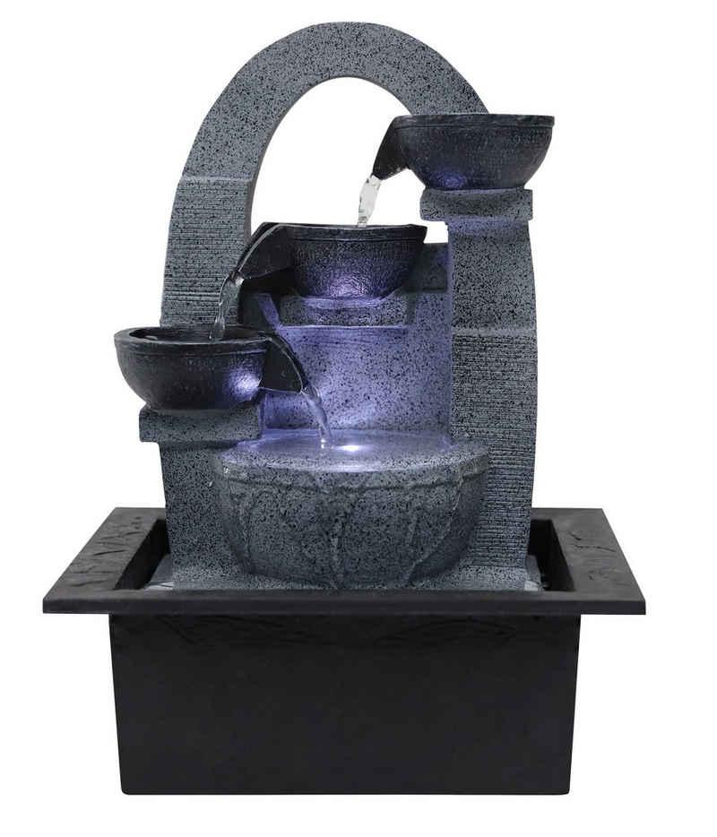 Dehner Zimmerbrunnen »Skleda mit LED, 21 x 28 x 18.3 cm, Polyresin, grau«, 21 cm Breite