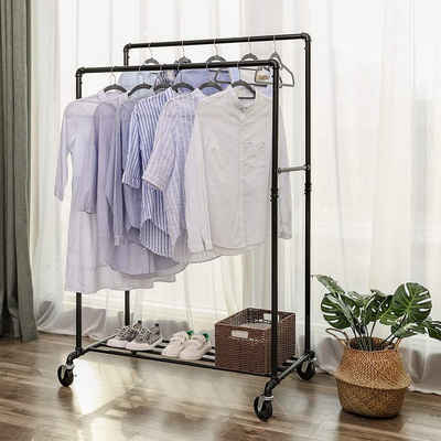 SONGMICS Kleiderständer »HSR60B«, Schwerlast Garderobenständer auf Rollen, bis 110kg belastbar, schwarz