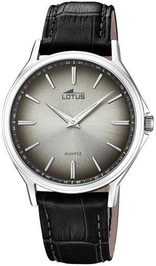 Lotus Multifunktionsuhr »UL18516/4 Lotus Herren-Armbanduhr schwarz Analog«, (Analoguhr), Herren Armbanduhr rund, groß (ca. 40mm), Lederarmband schwarz