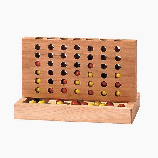 goki Spiel, Vier gewinnt. »Vier gewinnt Spiel«, Klassisches und beliebtes Gesellschaftsspiel aus massivem Holz