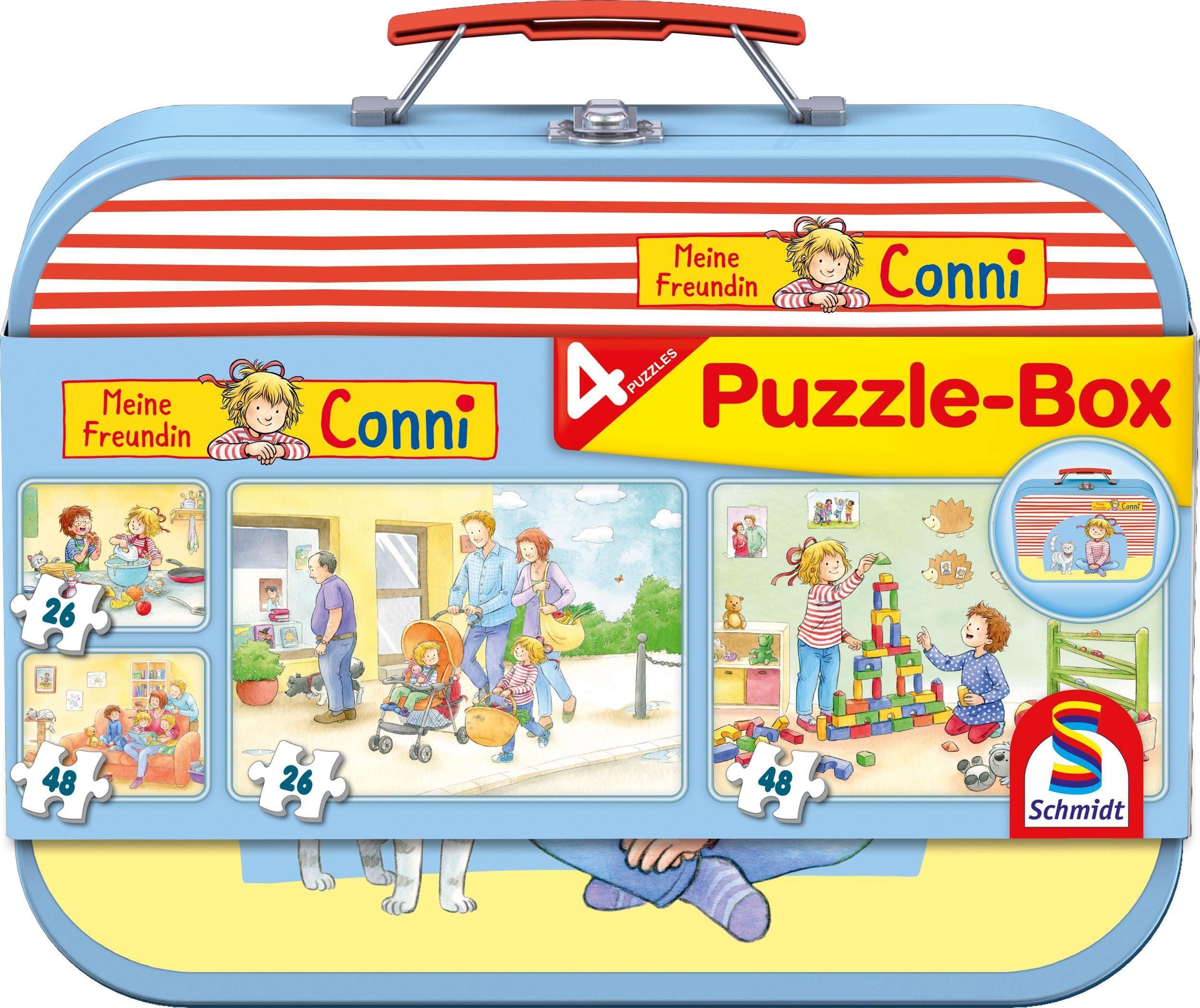 Schmidt Spiele Puzzle »Puzzlebox im Metallkoffer, Meine Freundin Conni«, 148 Teilig