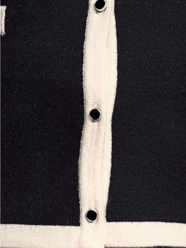Alba Moda Strickjacke mit kontrastfarbener Paspellierung