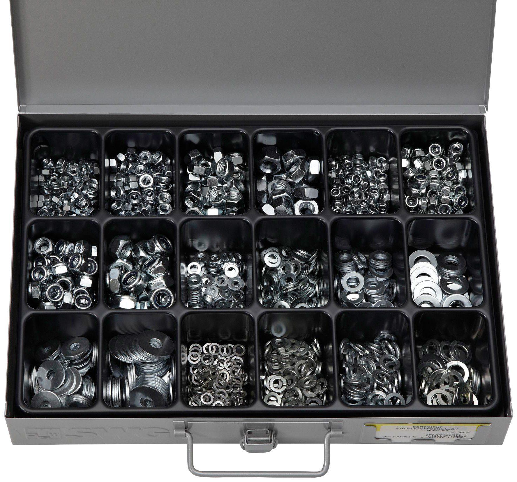 RAMSES Sortimentskasten , mit Muttern, Scheiben und Federringen M5-M10, 1200 Teile