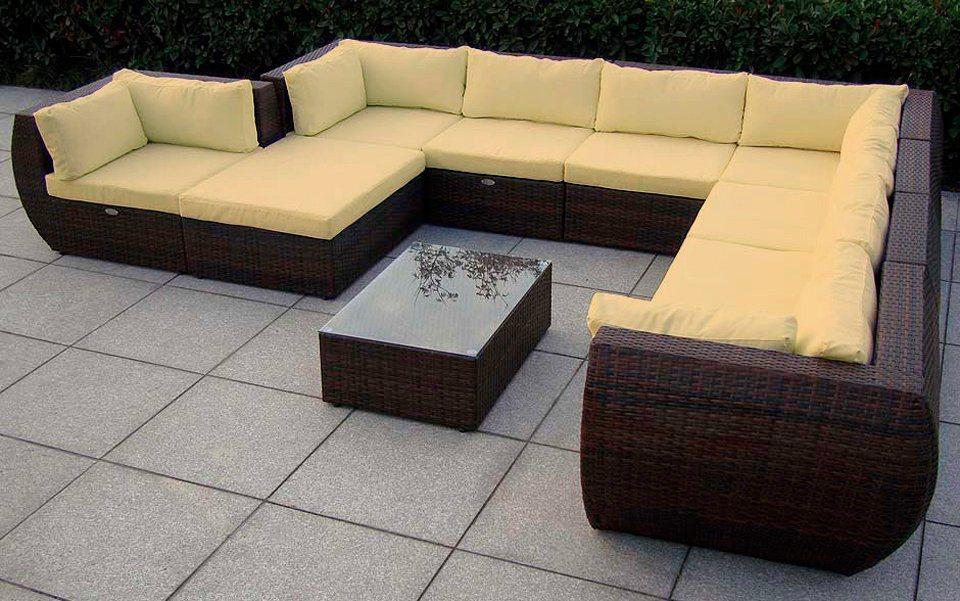 Loungeset »Extreme«, 1 XXL Sofa, 1 Hocker, Tisch, Polyrattan