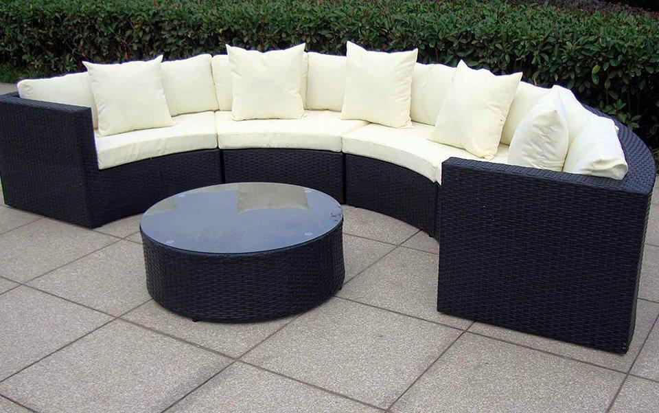 BAIDANI Loungeset »Skylounge«, 22-tlg., halbrunde Sitzgruppe, Couchtisch, Polyrattan | Garten > Gartenmöbel > Gartenmöbel-Set | Schwarz | Polyrattan | Baidani