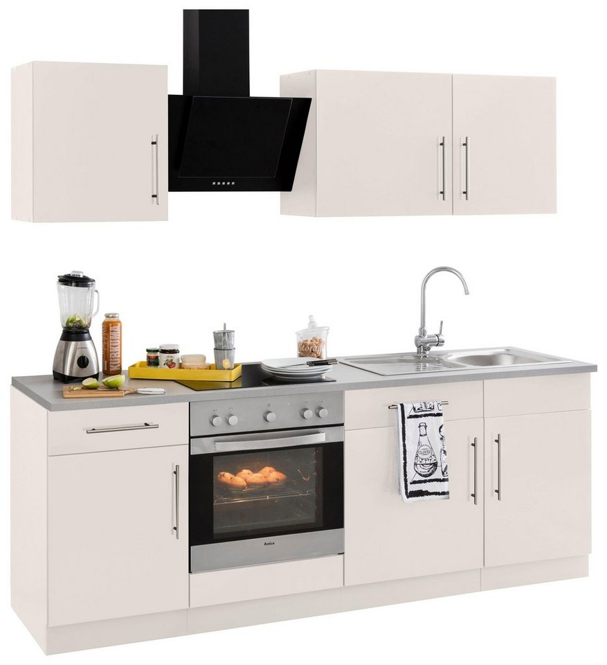 Küchenzeile »Cali« mit E-Geräten, Breite 220 cm mit Metallgriffen ...