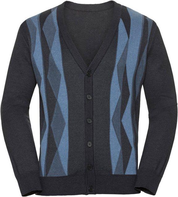 Herren Classic Strickjacke mit Jacquard-Muster vorne blau | 04058577002749