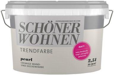 SCHÖNER WOHNEN FARBE Wand- und Deckenfarbe »Trendfarbe Pearl, matt«, 2,5 l