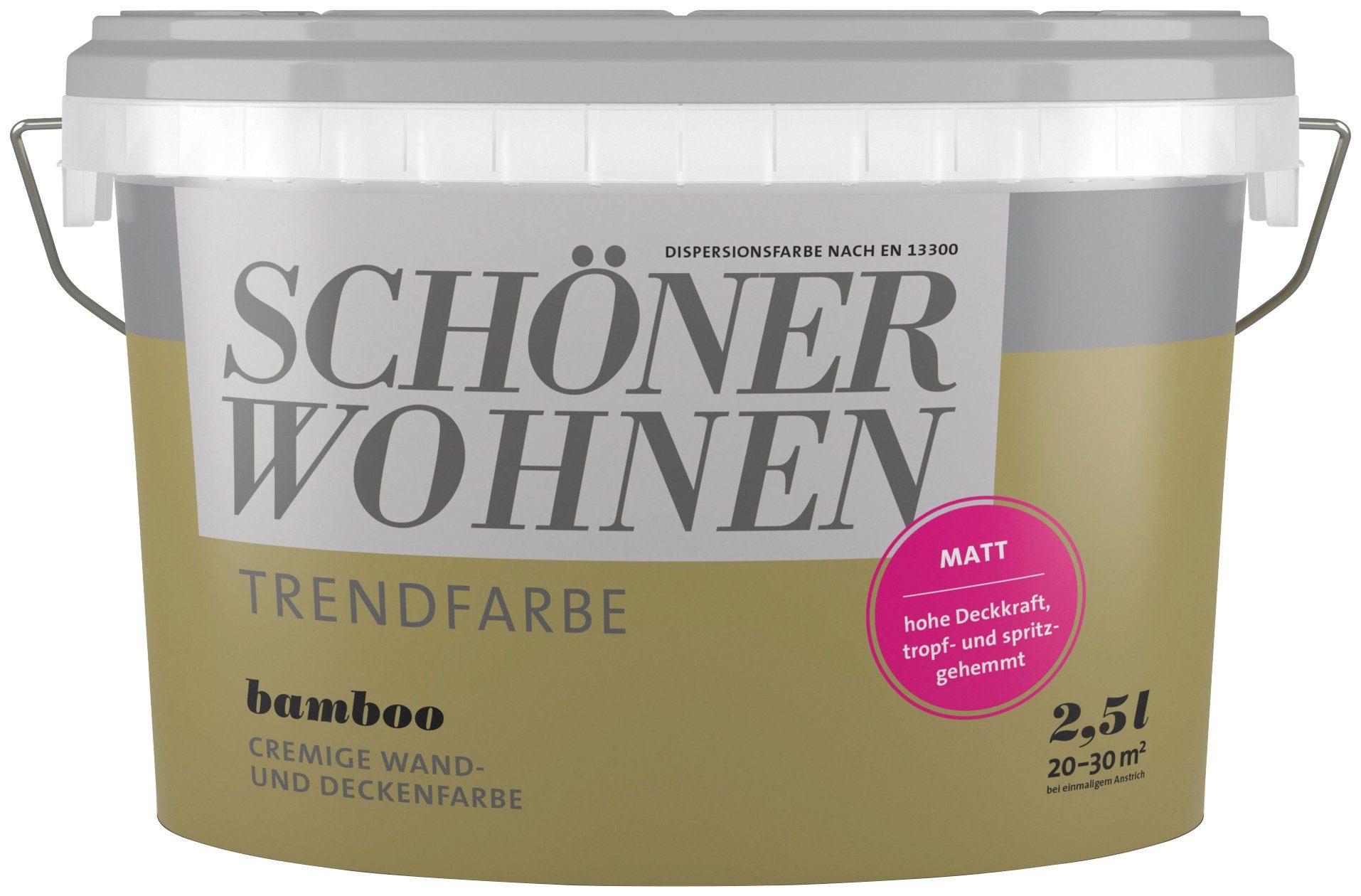 SCHÖNER WOHNEN FARBE Wand- und Deckenfarbe »Trendfarbe Bamboo, matt«, 2,5 l