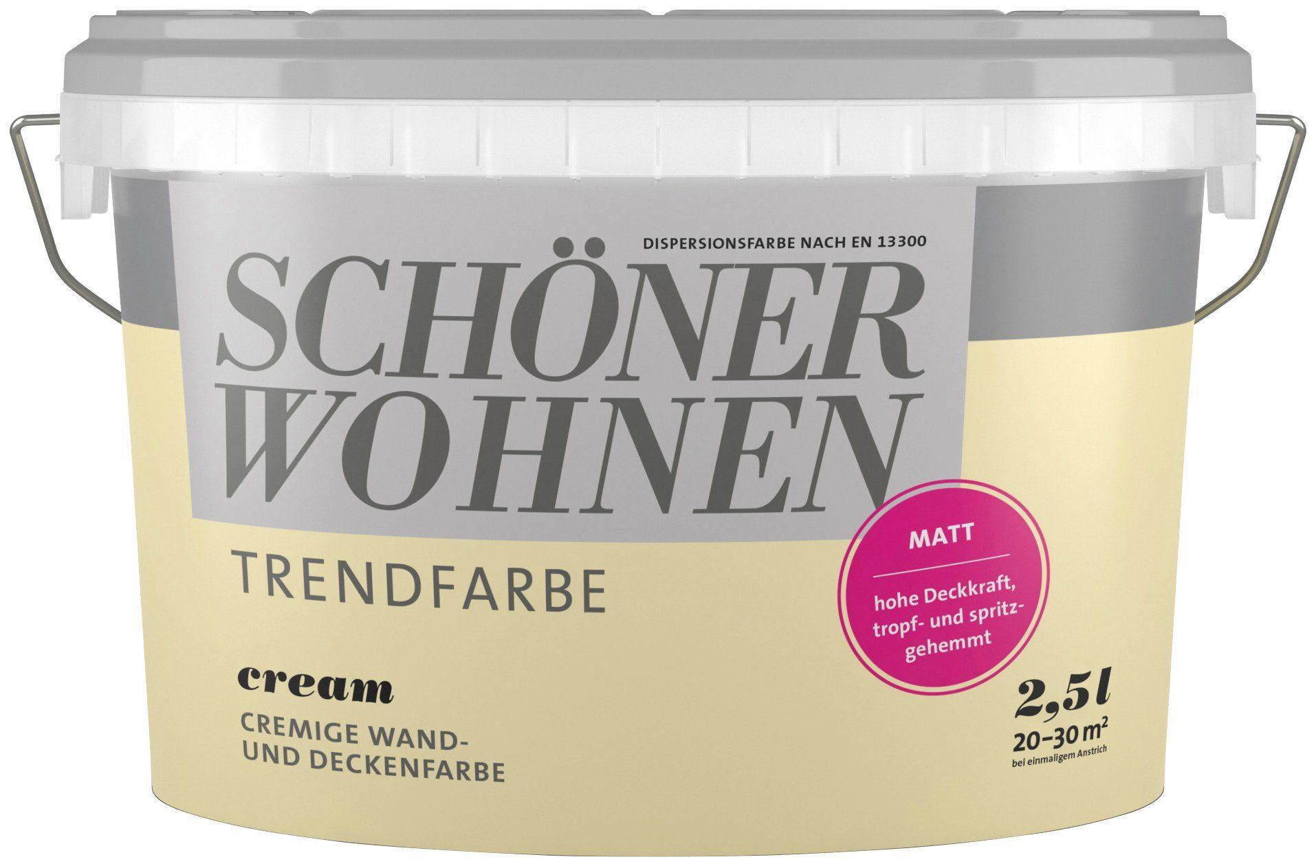 SCHÖNER WOHNEN FARBE Wand- und Deckenfarbe »Trendfarbe Cream, matt«, 2,5 l