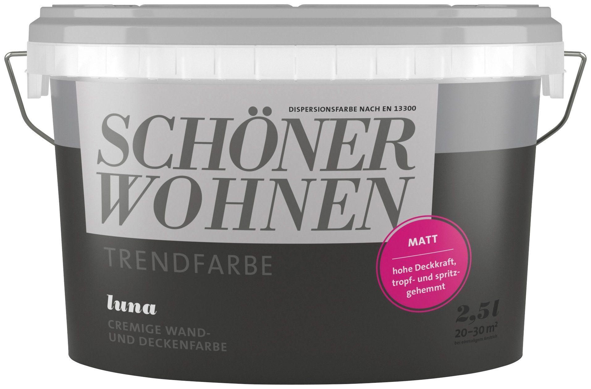 SCHÖNER WOHNEN FARBE Wand- und Deckenfarbe »Trendfarbe Luna, matt«, 2,5 l