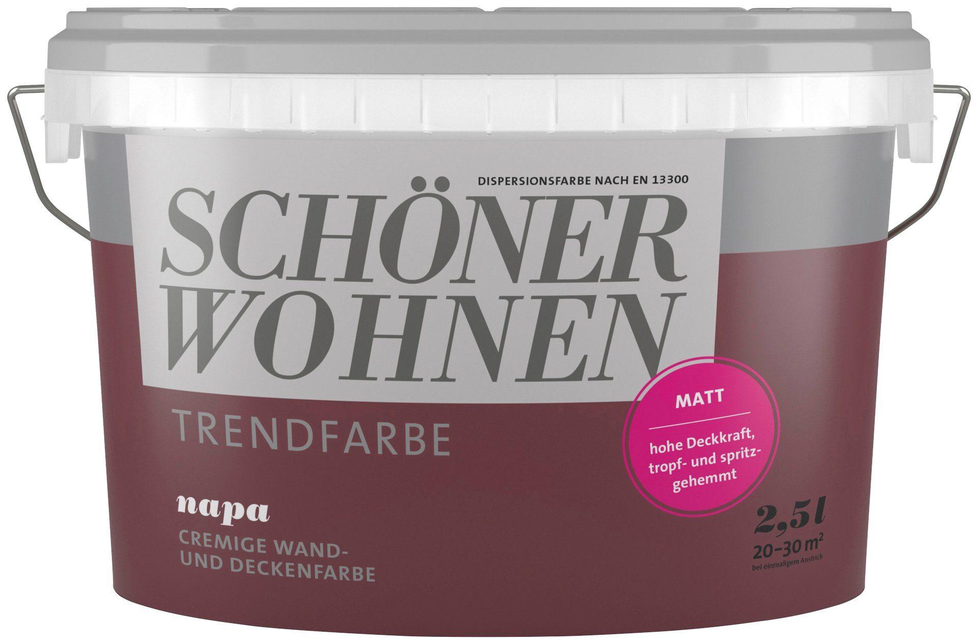 SCHÖNER WOHNEN FARBE Wand- und Deckenfarbe »Trendfarbe Napa, matt«, 2,5 l
