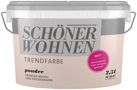 SCHÖNER WOHNEN FARBE Wand- und Deckenfarbe »Trendfarbe Poudre, matt«, 2,5 l