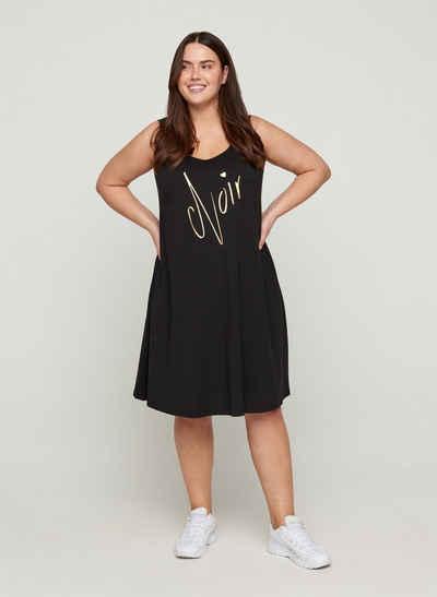 Zizzi Sommerkleid Große Größen Damen Ärmelloses Kleid aus Baumwolle mit A-Linie