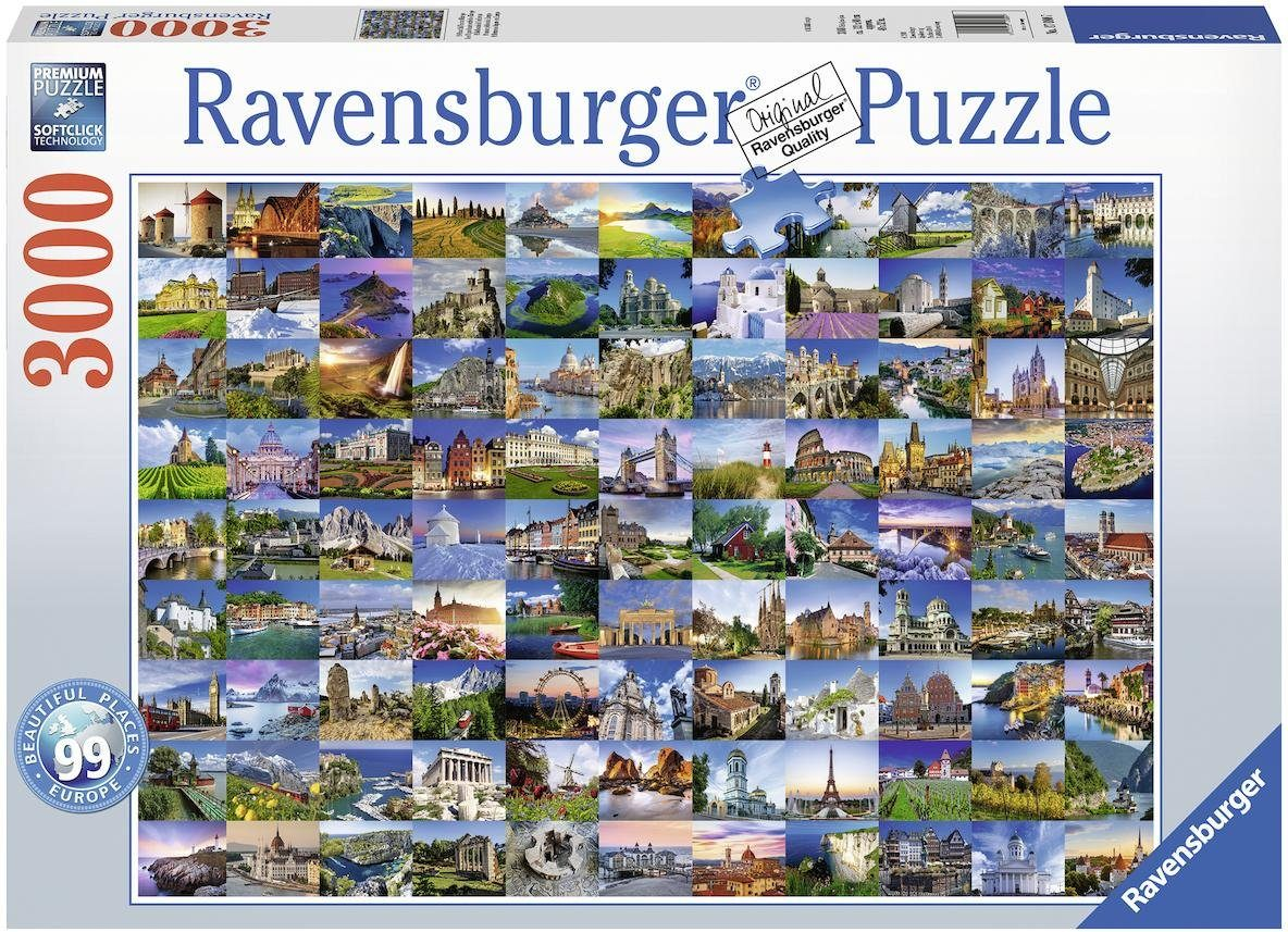 Ravensburger Puzzle, 3000 Teile, »99 Beautiful Places in Europe«