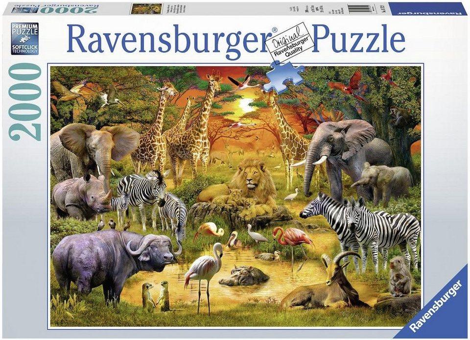 Ravensburger Puzzle, 2000 Teile,  Versammlung am Wasserloch  online kaufen