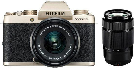 FUJIFILM »X-T100« Systemkamera (FUJINON XC15-45mmF3.5-5.6 OIS PZ, FUJINON XC50-230mm F4.5-6.7 OIS II, 24,2 MP, WLAN (Wi-Fi), Bluetooth)