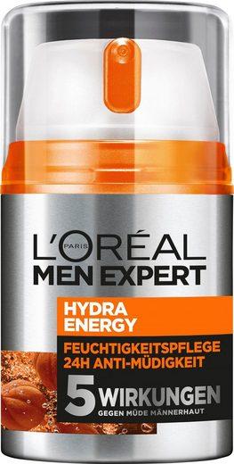 L'ORÉAL PARIS MEN EXPERT Feuchtigkeitscreme »Hydra Energy 24H Anti-Müdigkeit«, Feuchtigkeitspflege mit Vitamin C & Guarana