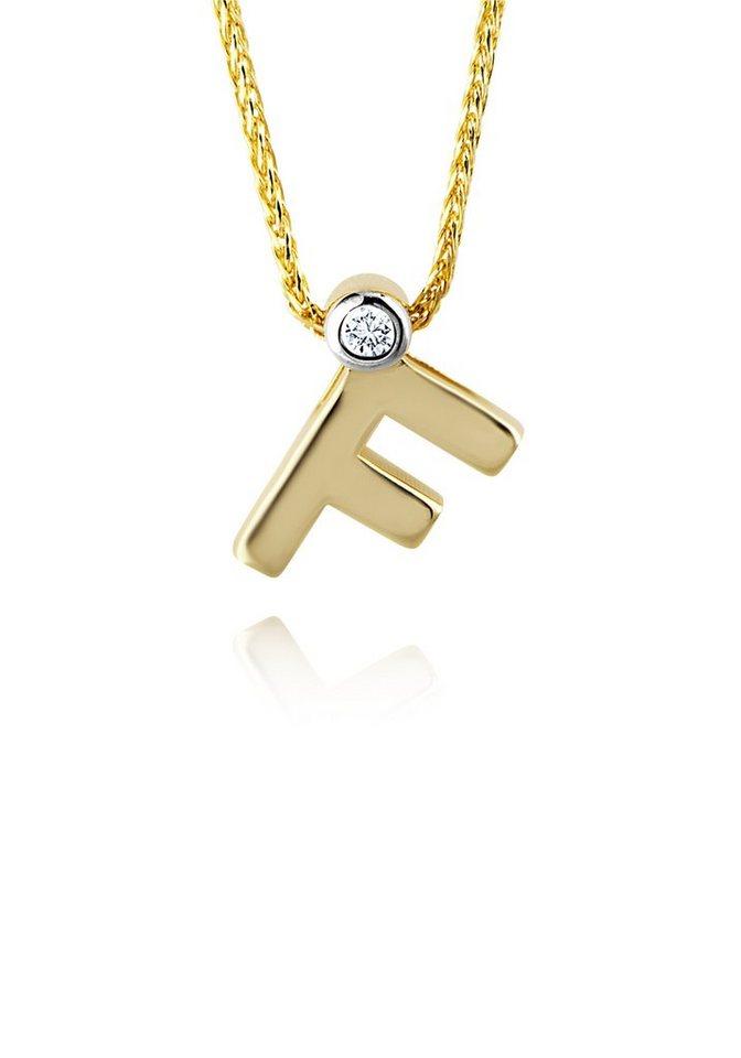 diamond line goldkette mit buchstabem f und diamantbesatz. Black Bedroom Furniture Sets. Home Design Ideas