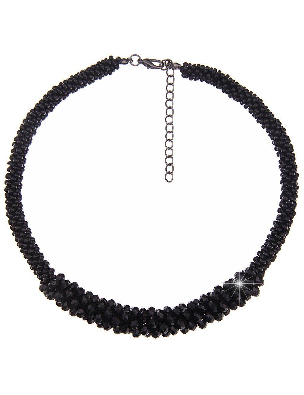 Leslii Statement-Halskette aus glitzernden Glasperlen