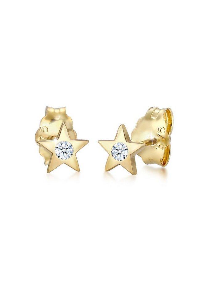Elli Paar Ohrstecker »Stecker Stern Astro Diamant (0.04ct) 375 Gelbgold« | Schmuck > Ohrschmuck & Ohrringe > Ohrstecker | Goldfarben | Elli