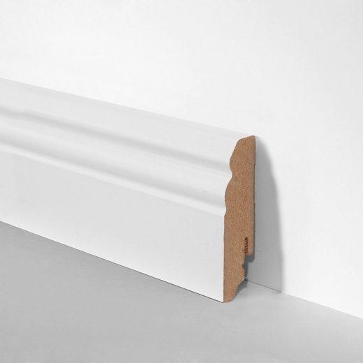 BODENMEISTER Set: Sockelleiste »Hamburger Profil weiß«, 3er-Pack, Höhe: 7 cm