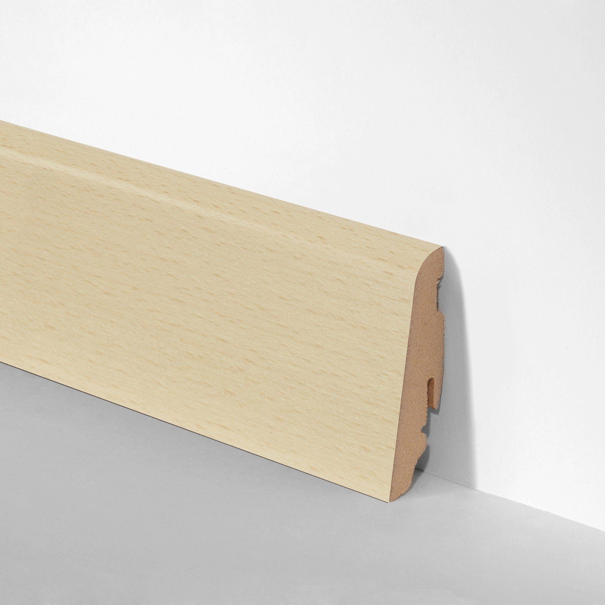 BODENMEISTER Set: Sockelleiste »Echtholz furniert Buche«, 3er-Pack, Höhe: 5,8 cm