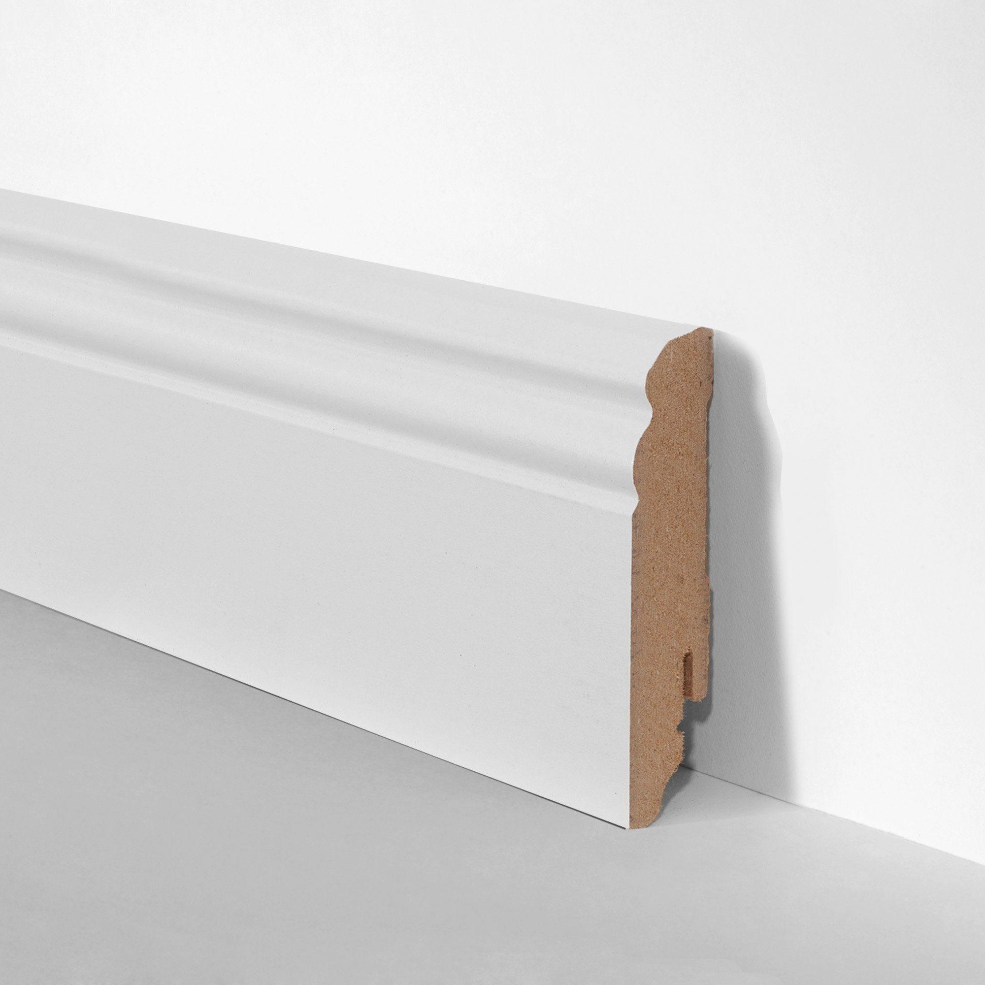 BODENMEISTER Set: Sockelleiste »Hamburger Profil weiß«, 3er-Pack, Höhe: 8 cm