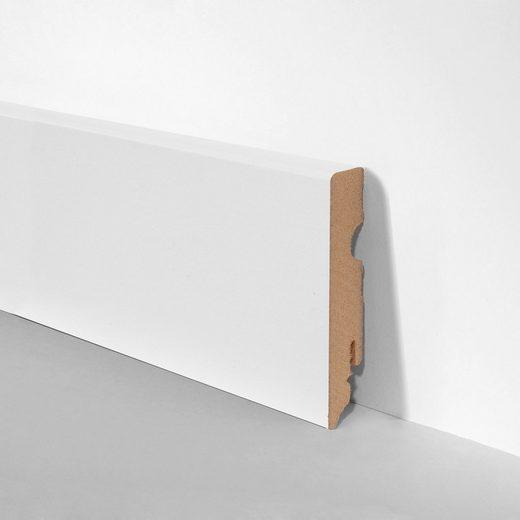 BODENMEISTER Set: Sockelleiste »Oberkante eckig weiß«, 3er-Pack, Höhe: 8 cm