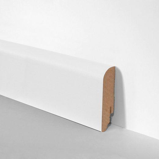 BODENMEISTER Set: Sockelleiste »Oberkante abgerundet weiß«, 3er-Pack, Höhe: 7 cm