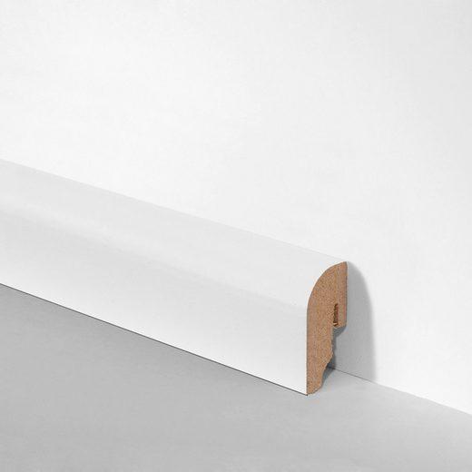 BODENMEISTER Set: Sockelleiste »Oberkante abgerundet weiß«, 3er-Pack, Höhe: 4 cm