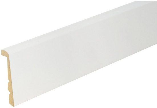 BODENMEISTER Set: Sockelleiste »Renovierungsleiste weiß«, 2er-Pack, Höhe: 13,8 cm 3-fach kürzbar