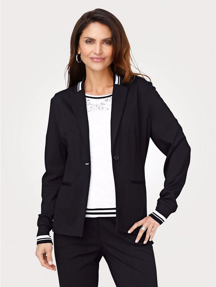 Damen Mona Jerseyblazer in sportiver Form schwarz | 04055717322811