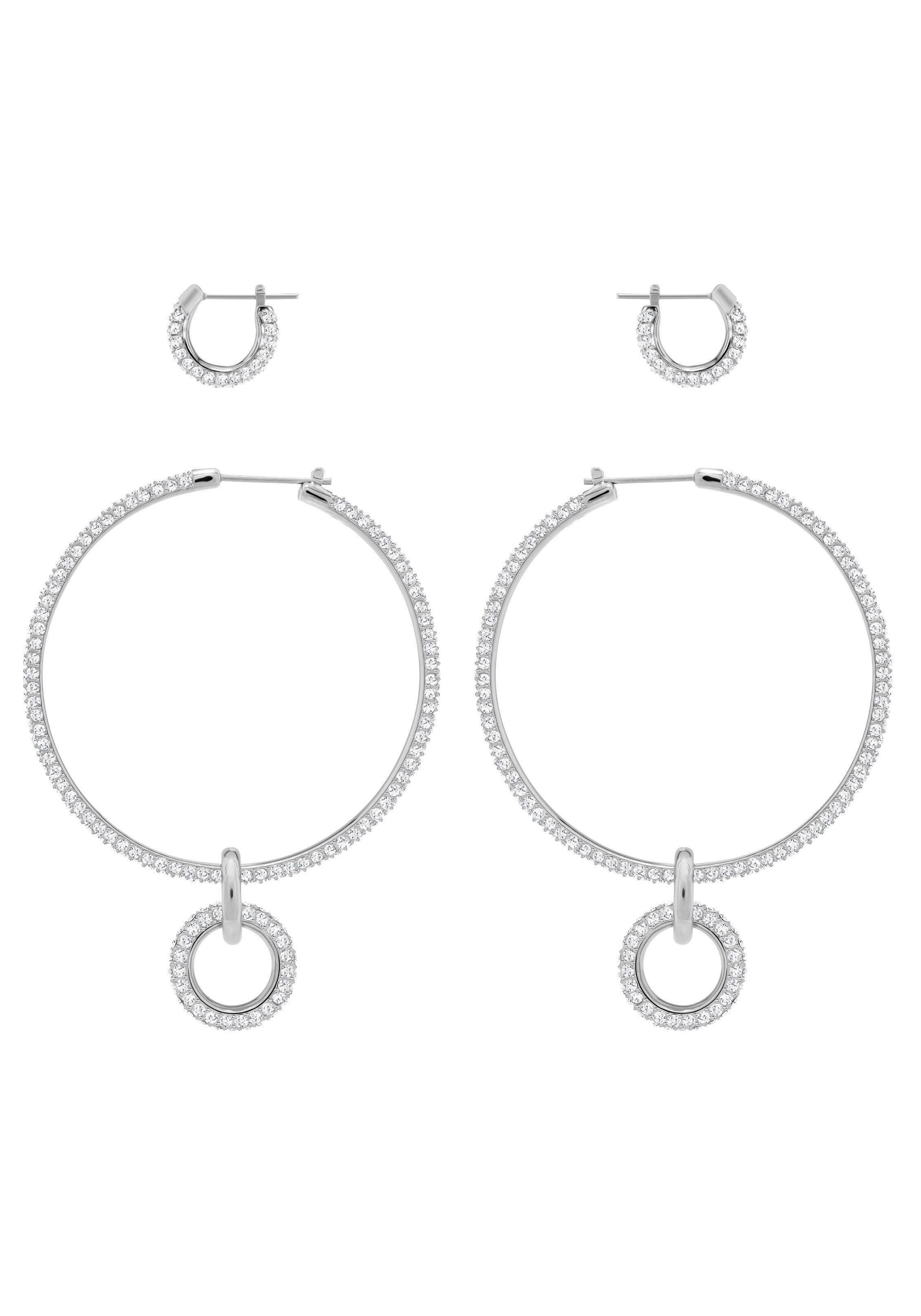 Swarovski Ohrring-Set »Stone Ohrringset, weiss, rhodiniert, 5437971« (Set, 6 tlg) mit Swarovski® Kristallen