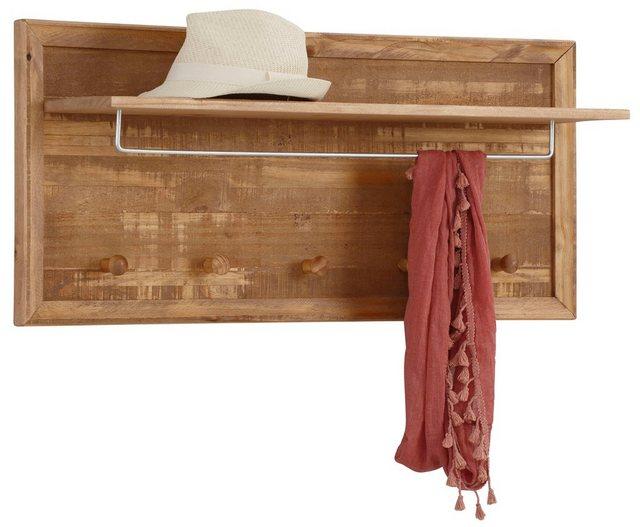 Garderobenleisten und Haken - Home affaire Garderobenpaneel »Auckland«, mit 1 Metallstange und 5 Haken, aus Massivholz, Breite 60 cm  - Onlineshop OTTO